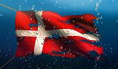 Denmark Under Water Sea Flag National Torn Bubble 3D