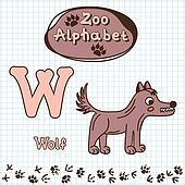 Colorful children's alphabet with animals, wolf