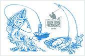 Fisherman and fish - vintage illustration