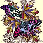 Floral seamless pattern with colorful butterflies and foliage