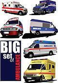 Big set of Modern ambulance van.
