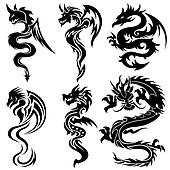 Set of the Chinese dragons, tribal