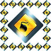Set of 21 yellow hazard signs