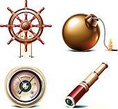 Vector marine travel icons.