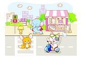 cute cartoon animals in the city