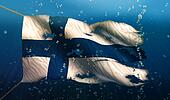 Finland Under Water Sea Flag National Torn Bubble 3D