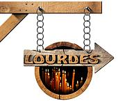 Lourdes - Wooden Sign with Votive Candles