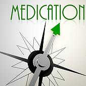 Medication on green compass