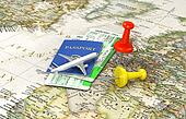 Travel concept. Plane on the passport with tickets and pins on the world map. Journey and vacation. 3d illustration