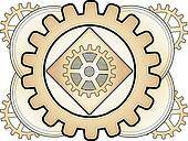 Steampunk Abstract Gear Ornament Lo