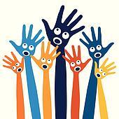 Joyful singing people hands.