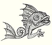 Detailed medieval decorative engraved fish gargoyle
