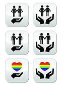 Gay and lesbian couples, rainbow fl