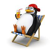 3d Penguin relaxes in deckchair
