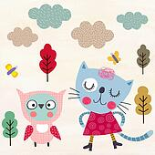 Kitty and owl