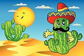 Desert scene with Mexican cactus
