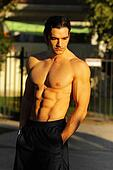 Male fitness model outdoors