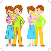 The mother and her husband holding the baby. Home and Family Cha
