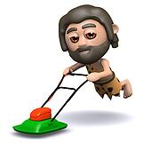 3d Caveman mows the lawn
