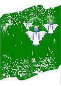 angels on green festive card