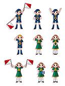 cartoon boy/girl scout icon set