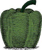 Woodcut Green Pepper