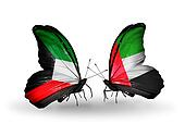 Two butterflies with flags on wings as symbol of relations Kuwait and United Arab Emirates