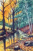 landscape oil painting with river in autumn forest