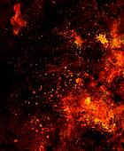 Fire flames background with desert crackle, LAVA structure. Computer collage. Earth Concept.