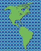 vector abstract map of north and south america