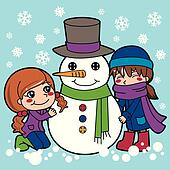 Girls Making Snowman