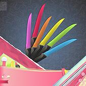 Set of colorful knives. Vector design