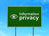 Protection concept: Information Privacy and Eye on road sign background