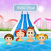 family in water park