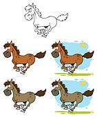 Cartoon Horses Running