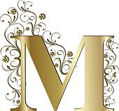 capital letter M gold