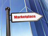 Marketing concept: sign Marketplace on Building background