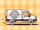 illustration of van free and fast delivering pizza to cus