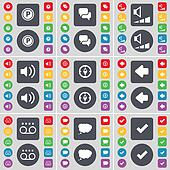Parking, Chat, Volume, Sound, Compass, Arrow left, Cassette, Cha icon symbol. A large set of flat, colored buttons for your design.
