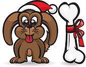 Dog with christmas bone