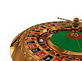 Casino roulette wheel on white background
