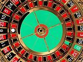 Casino roulette wheel top view