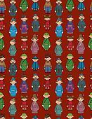 cartoon Chinese people seamlese pattern