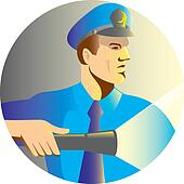 Security guard policeman officer flashlight torch