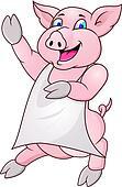 pig wearing apron