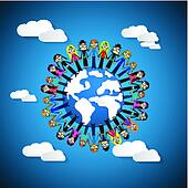 People - Women Holding Hands Around Globe on Blue Sky Background