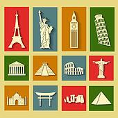 World landmarks, flat icons set