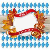 Oktoberfest Emblem Foliage Wood Bavarian