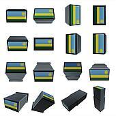 Rwanda flags 3D Box with  mesh texture