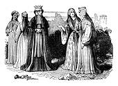 Women's costumes in the reign of Henry VII, vintage engraving.